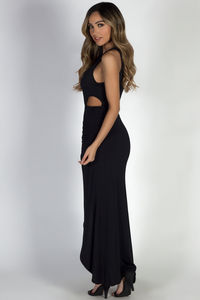 """Bad at Love"" Black Sleeveless Side Cutout Maxi Dress  image"