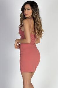 """Swoon"" Dusty Coral Multi-Strap Bodycon Mini Dress image"