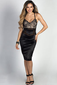 """Chrissy"" Black Satin & Lace Sexy Bodycon Midi Dress image"