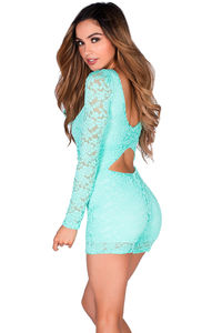 """Carmen"" Mint Green Back Cut Out Long Sleeve Lace Romper image"
