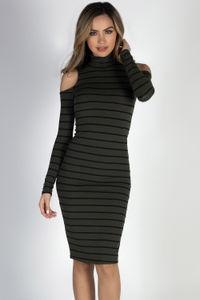 """Whatever She Wants"" Olive & Black Striped Cold Shoulder Midi Dress image"