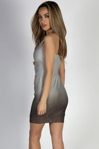 """Miss Steele"" Silver Metallic Pinstripe Ombre Mini Dress image"