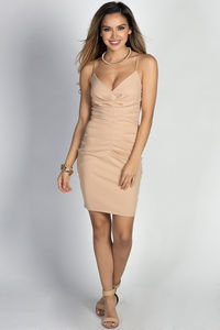 """""""Alani"""" Nude Strappy Pleated Cocktail Dress image"""