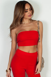 """J'reste Debout"" Vibrant Red Ribbed Bandeau Top image"