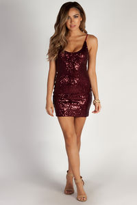 """There She Goes"" Sangria Scoop Neck Sequin Dress image"