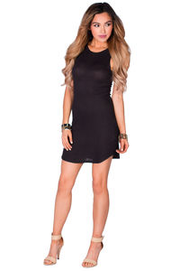 """Jeanette"" Black Lightweight Ribbed Jersey Tank Dress image"