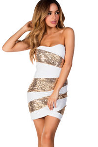 """Alexis"" White and Gold Sequin Strapless Cocktail Party Dress image"
