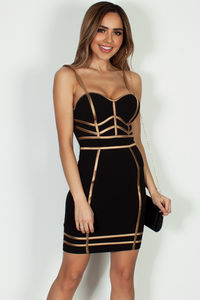"""""""Without Me"""" Black And Gold Spaghetti Strap Bustier Bodycon Dress image"""