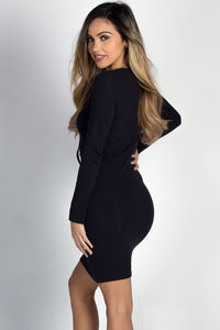 """""""Neveah"""" Navy Long Sleeve Lace Up T- Shirt Dress image"""