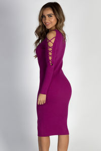 """Holding On"" Plum Lace Up Sleeve Sweater Dress image"