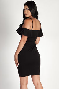 """""""Better Off Alone"""" Black Cold Shoulder Halter Dress image"""