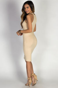 """Body Talk"" Nude Jersey Bodycon Tank Midi Dress image"