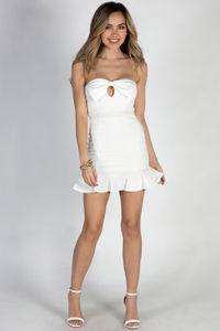 """Peek-A-Bow"" White Strapless Bow Front Mini Dress image"