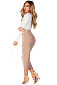 """Holly"" Nude Tan Cozy Knit High Waisted Midi Pencil Skirt image"