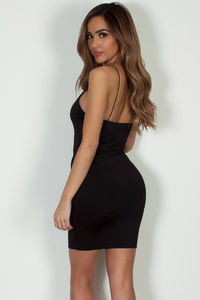"""All Or Nothing"" Black Spaghetti Strap Mini Dress image"