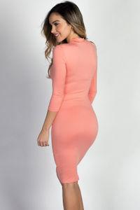 """Alva"" Peach 3/4 Sleeve Jersey Bodycon Mock Turtleneck Midi Dress image"