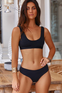 Ambrosia Black Sexy High Cut Bikini Bottoms image