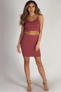 """No Cap"" Terra Cotta Spaghetti Strap Crop Top And Skirt Set image"