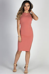 """""""Game of Love"""" Dusty Coral Open Back Bodycon Midi Cocktail Dress image"""