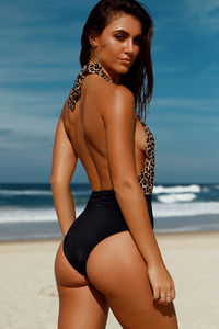 Liz Leopard & Black Deep V Halter One Piece Swimsuit image