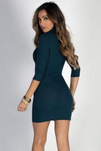 """Simple Pleasures"" Peacock Teal 3/4 Sleeve Jersey Bodycon Classic Turtleneck Midi Dress image"