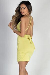 """Eye Candy"" Sunshine Yellow Backless Strappy Wrap Dress image"