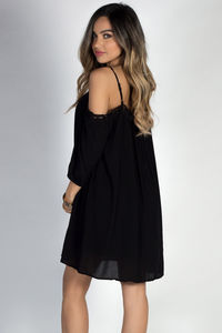 """La Boheme"" Black Lace Trimmed Off Shoulder Boho Mini Dress image"