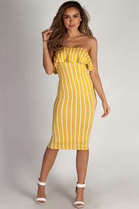 """""""Perfect Day"""" Mustard Ruffle Tube Dress image"""