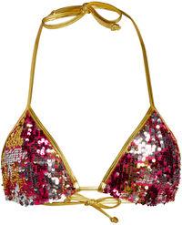 Gold & Fuchsia Sequin Triangle Top image