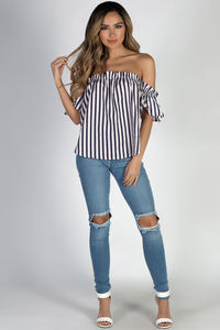 """Summer Sun"" Navy and Red Off Shoulder Striped Top image"