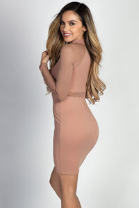 """Drea"" Taupe Mockneck Long Sleeve Fishnet Cut Out Dress image"