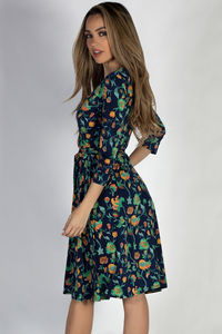 """""""Well Dressed"""" Navy Floral 3/4 Sleeve A Line Wrap Dress image"""