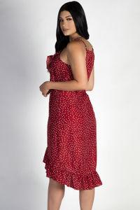 """""""Enough Said"""" Red Polka Dot Wrap Ruffled Dress image"""