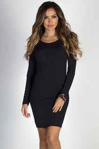 """Sweet Emotion"" Black Long Sleeve Cage Back Dress image"