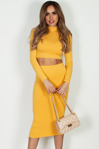 """""""No Days Off"""" Mustard Yellow Long Sleeve Crop Top And Midi Skirt image"""