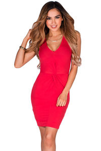 """Mandi"" Red Twist Front V Neck Sleeveless Short Jersey Tank Dress image"