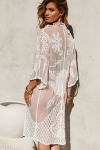 Ayala White Lace Floral Kimono Beach Cover Up image
