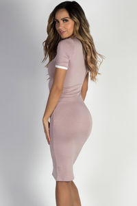 """""""Elodie"""" Mauve Bodycon Ringer Midi Dress with Sleeves image"""