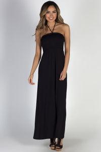 """Summer Rain"" Black Halter Neck Maxi Dress image"