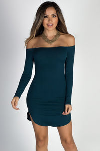 """Without Words"" Peacock Teal Off Shoulder Dolphin Hem Mini Dress image"