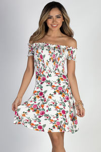 """My Dream"" White Floral Off Shoulder Dress image"