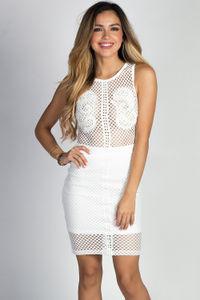 """Artesia"" White Sleeveless Mesh Net & Lace Sheer Top Sheath Dress image"