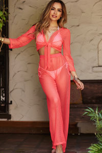 Jamaican Sunset Coral Fishnet Two Piece Beach Cover Up image