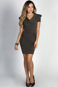"""Colette"" Sparkly Gold Short Sleeve Cowl Neck Mini Dress image"