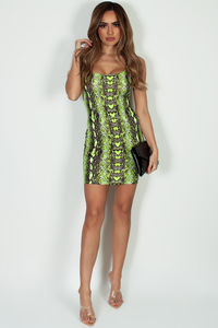 """Good To Me"" Neon Lime Yellow Snake Print Mini Dress image"