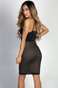 """Delilah"" Black Striped Mesh & Lace Bustier Cocktail Dress image"