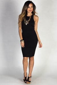 """Body Talk"" Black Jersey Bodycon Tank Midi Dress image"
