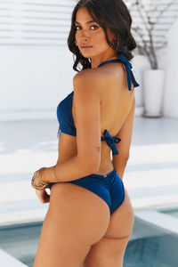 Navy Banded Classic Scrunch Bottom image
