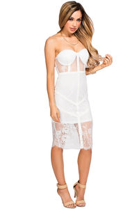 """Jess"" White Lace Strapless Bustier Midi Dress image"