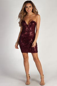 """Want Nobody Else"" Burgundy Strapless Sequin Mini Dress image"